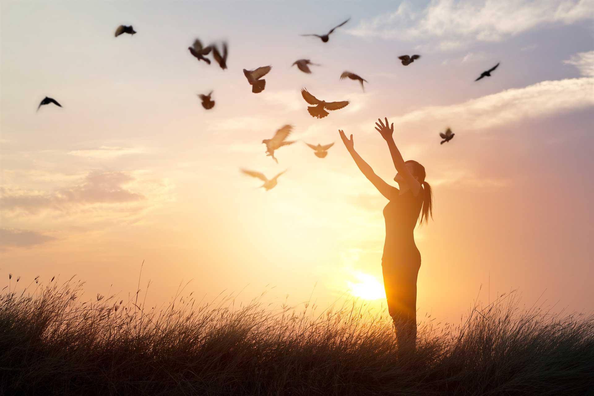 woman-praying-free-birds-nature-sunset-background